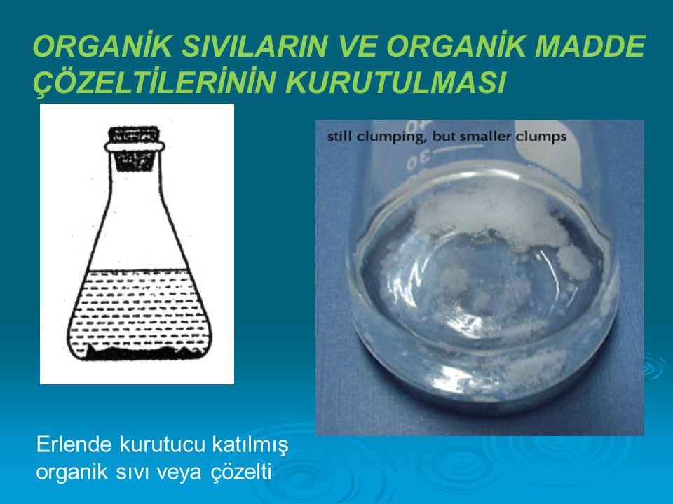 ORGANİK SIVILARIN VE ORGANİK MADDE ÇÖZELTİLERİNİN KURUTULMASI Erlende kurutucu katılmış organik sıvı veya çözelti