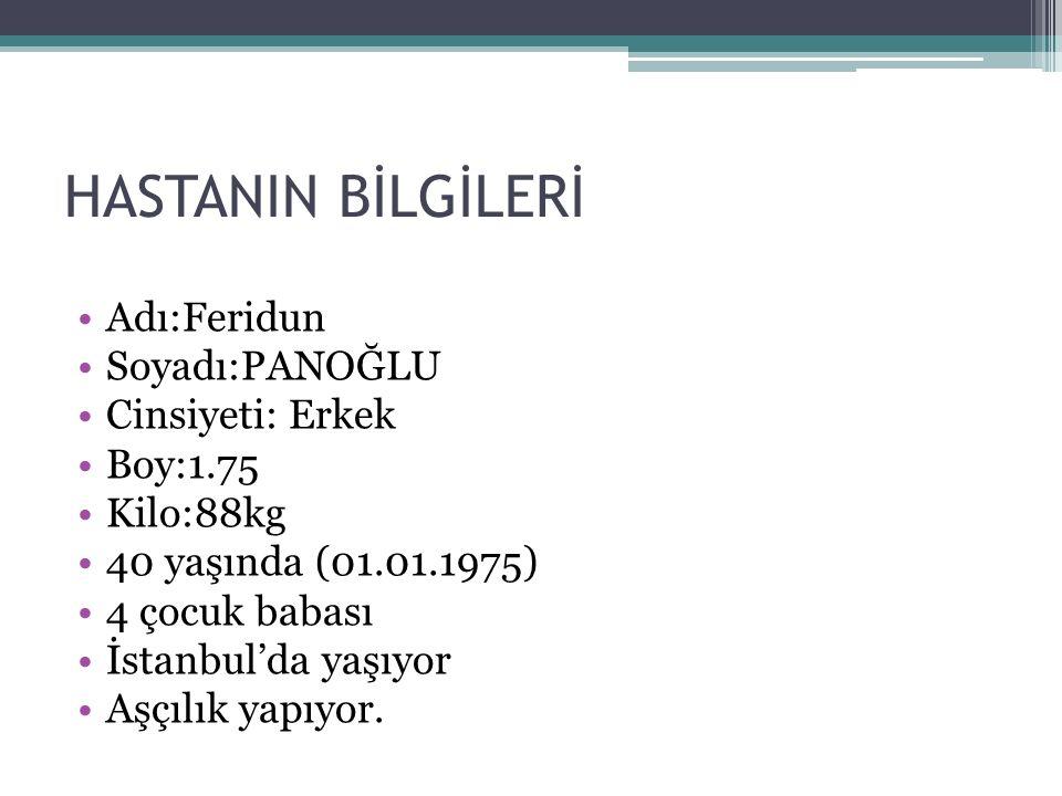 HASTANIN BİLGİLERİ Adı:Feridun Soyadı:PANOĞLU Cinsiyeti: Erkek Boy:1.75 Kilo:88kg 40 yaşında (01.01.1975) 4 çocuk babası İstanbul'da yaşıyor Aşçılık y