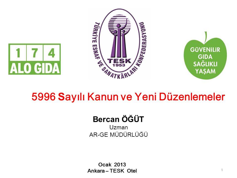 11 5996 S ayılı Kanun ve Yeni Düzenlemeler Ocak 2013 Ankara – TESK Otel Bercan ÖĞÜT Uzman AR-GE MÜDÜRLÜĞÜ