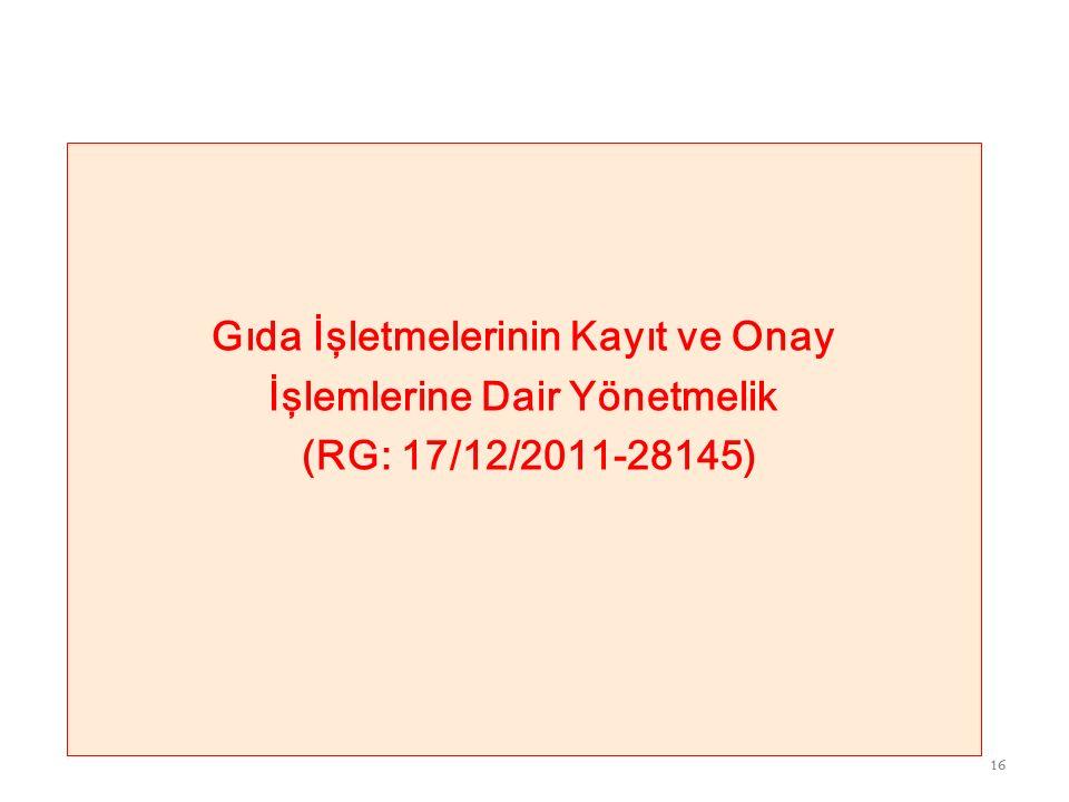 15 Temel Gıda Yönetmelikleri Gıda İşletmelerinin Kayıt ve Onay İşlemlerine Dair Yönetmelik Gıda Hijyeni Yönetmeliği (EC, 852/2004 ) Hayvansal Gıdalar İçin Özel Hijyen Kuralları Yönetmeliği (EC, 853/2004 ) Hayvansal Gıdaların Resmi Kontrollerine İlişkin Özel Kuralları Belirleyen Yönetmelik(EC, 854/2004 ) Gıda ve Yemin Resmi Kontrollerine Dair Yönetmelik (EC, 882/2004 ) Risk Değerlendirme Komite ve Komisyonlarının Çalışma Usul ve Esasları Hakkında Yönetmelik 15