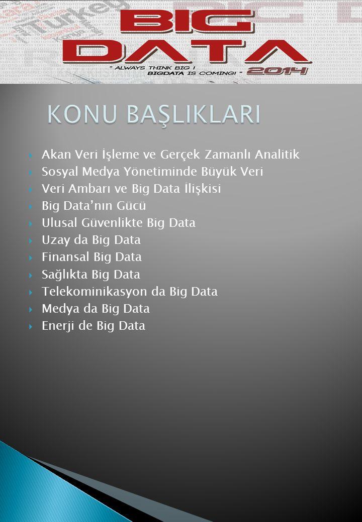  Akan Veri İşleme ve Gerçek Zamanlı Analitik  Sosyal Medya Yönetiminde Büyük Veri  Veri Ambarı ve Big Data İlişkisi  Big Data'nın Gücü  Ulusal Güvenlikte Big Data  Uzay da Big Data  Finansal Big Data  Sağlıkta Big Data  Telekominikasyon da Big Data  Medya da Big Data  Enerji de Big Data