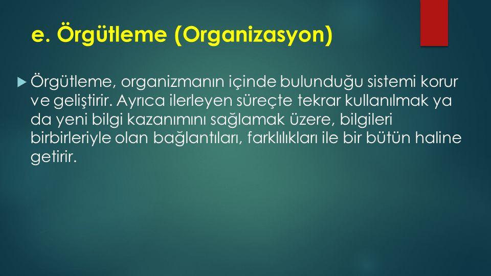 e. Örgütleme (Organizasyon)  Örgütleme, organizmanın içinde bulunduğu sistemi korur ve geliştirir. Ayrıca ilerleyen süreçte tekrar kullanılmak ya da