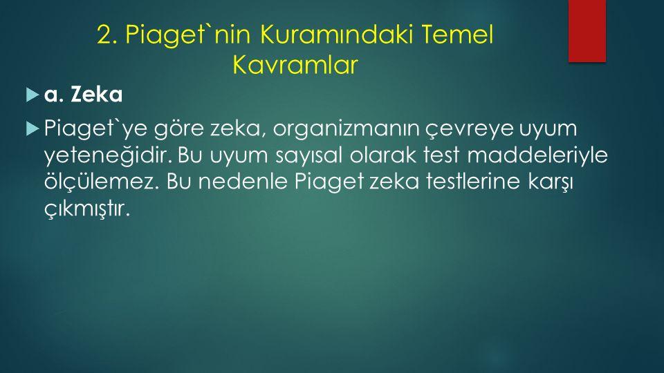 2. Piaget`nin Kuramındaki Temel Kavramlar  a. Zeka  Piaget`ye göre zeka, organizmanın çevreye uyum yeteneğidir. Bu uyum sayısal olarak test maddeler