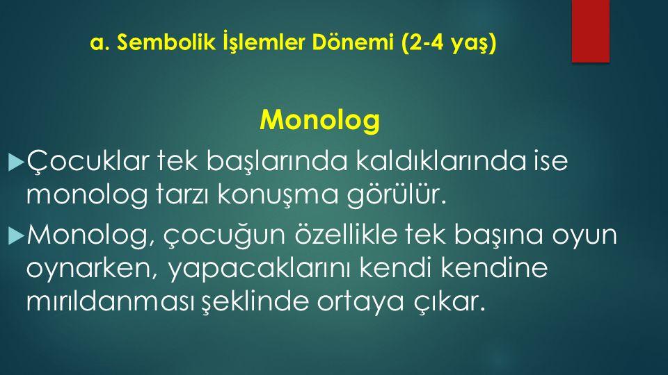 a. Sembolik İşlemler Dönemi (2-4 yaş) Monolog  Çocuklar tek başlarında kaldıklarında ise monolog tarzı konuşma görülür.  Monolog, çocuğun özellikle