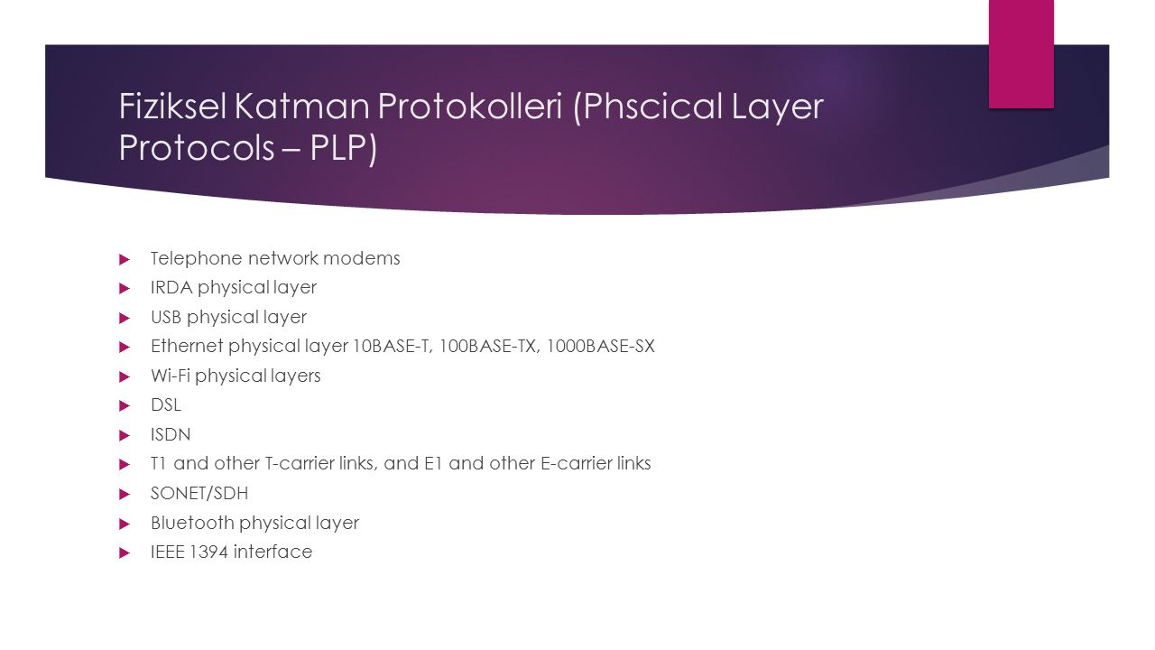 Fiziksel Katman Protokolleri (Phscical Layer Protocols – PLP)  Telephone network modems  IRDA physical layer  USB physical layer  Ethernet physical layer 10BASE-T, 100BASE-TX, 1000BASE-SX  Wi-Fi physical layers  DSL  ISDN  T1 and other T-carrier links, and E1 and other E-carrier links  SONET/SDH  Bluetooth physical layer  IEEE 1394 interface