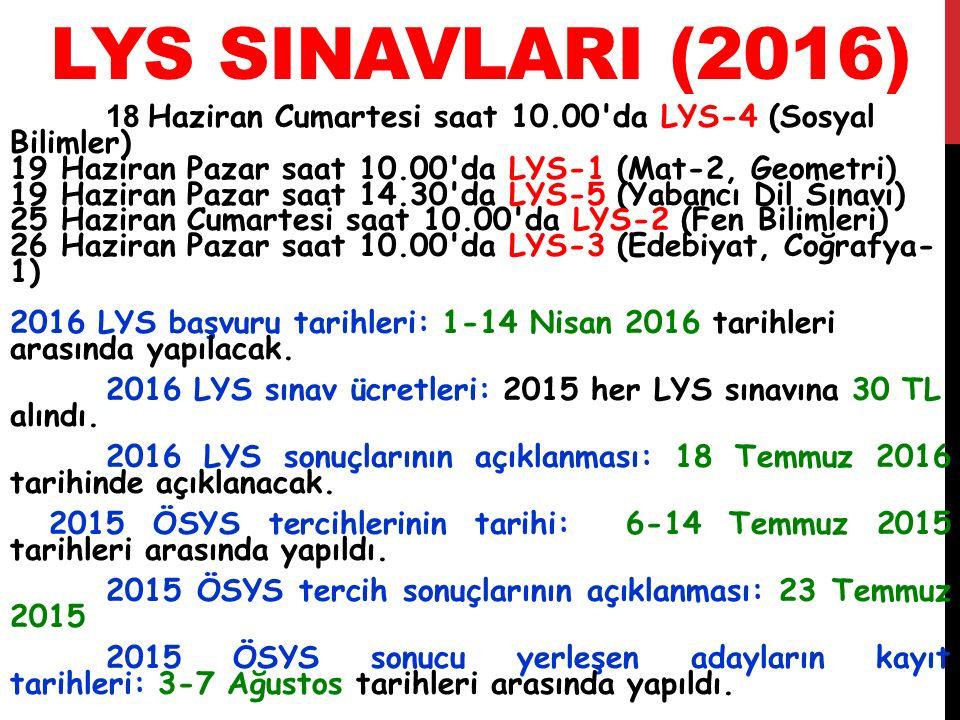 LYS SINAVLARI (2016) 18 Haziran Cumartesi saat 10.00'da LYS-4 (Sosyal Bilimler) 19 Haziran Pazar saat 10.00'da LYS-1 (Mat-2, Geometri) 19 Haziran Paza