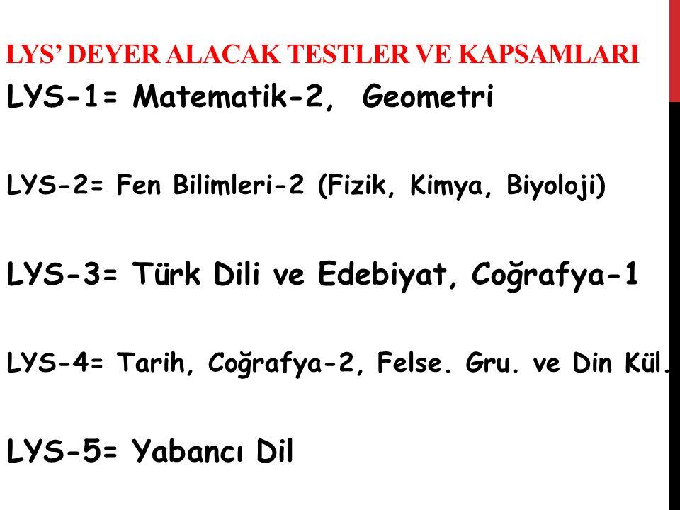 LYS' DEYER ALACAK TESTLER VE KAPSAMLARI LYS-1= Matematik-2, Geometri LYS-2= Fen Bilimleri-2 (Fizik, Kimya, Biyoloji) LYS-3= Türk Dili ve Edebiyat, Coğ