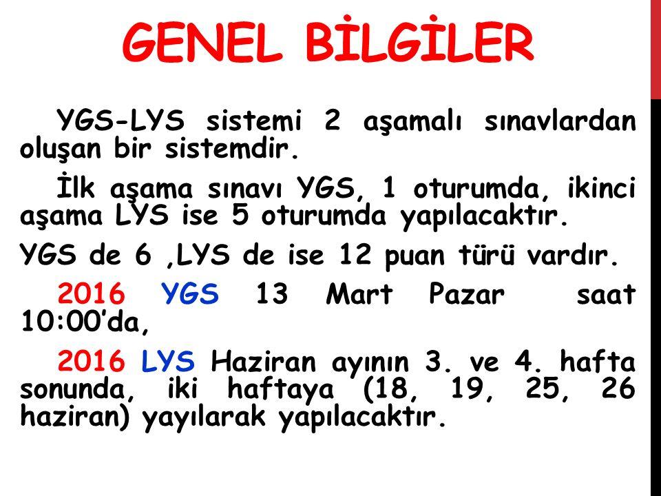 GENEL BİLGİLER YGS-LYS sistemi 2 aşamalı sınavlardan oluşan bir sistemdir. İlk aşama sınavı YGS, 1 oturumda, ikinci aşama LYS ise 5 oturumda yapılacak