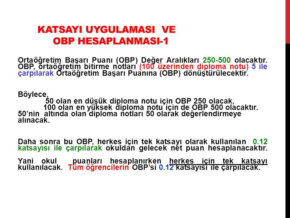 KATSAYI UYGULAMASI VE OBP HESAPLANMASI-1 Ortaöğretim Başarı Puanı (OBP) Değer Aralıkları 250-500 olacaktır. OBP, ortaöğretim bitirme notları (100 üzer