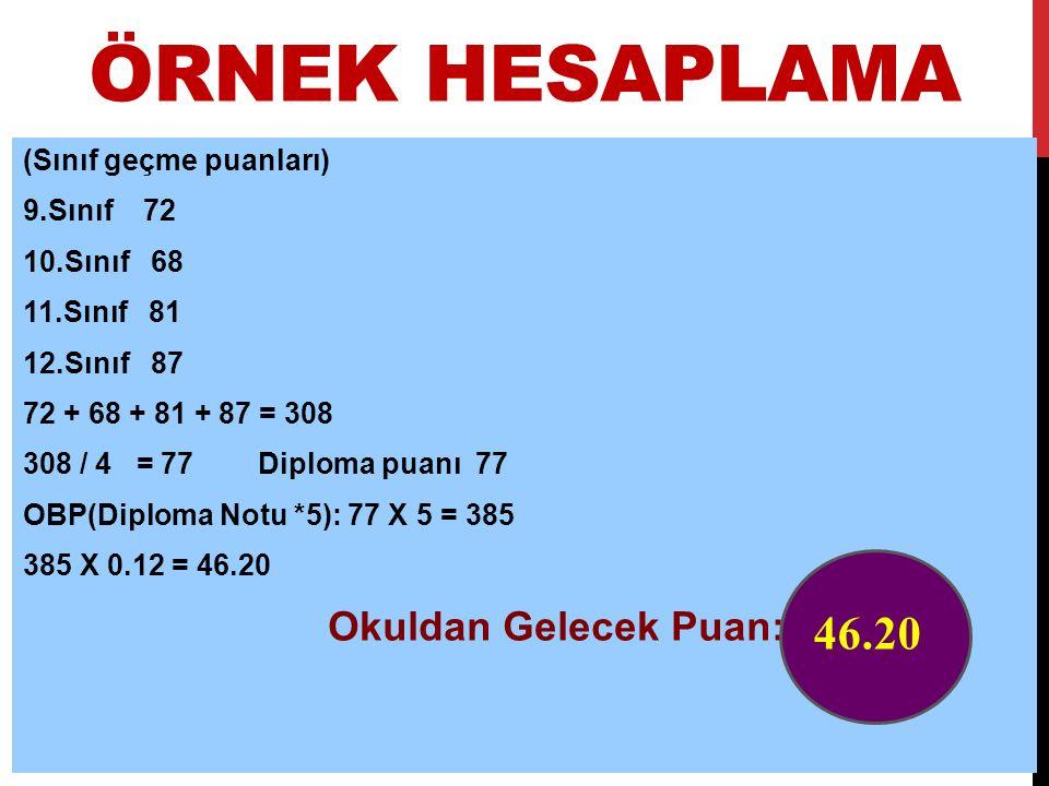 ÖRNEK HESAPLAMA (Sınıf geçme puanları) 9.Sınıf 72 10.Sınıf 68 11.Sınıf 81 12.Sınıf 87 72 + 68 + 81 + 87 = 308 308 / 4 = 77 Diploma puanı 77 OBP(Diplom