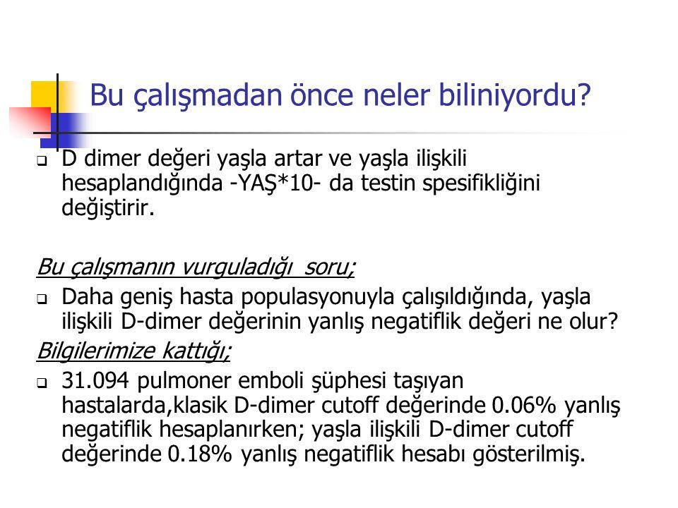 Pulmoner Emboli düşündüren olası şikayetler/durumlar