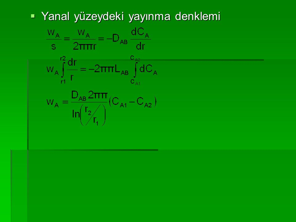  Yanal yüzeydeki yayınma denklemi