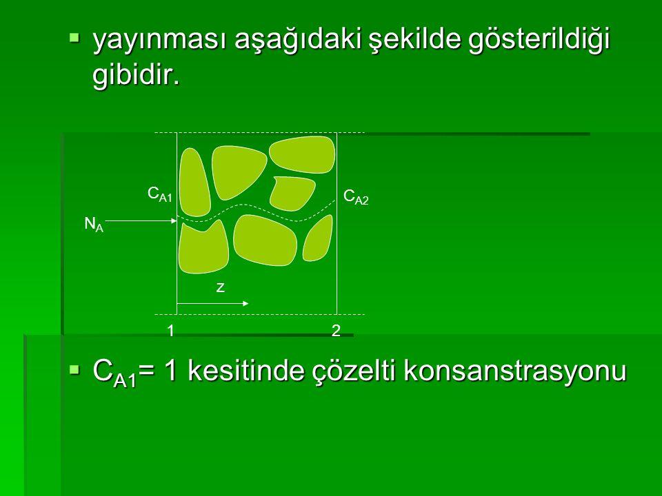  yayınması aşağıdaki şekilde gösterildiği gibidir.  C A1 = 1 kesitinde çözelti konsanstrasyonu 12 NANA z C A1 C A2