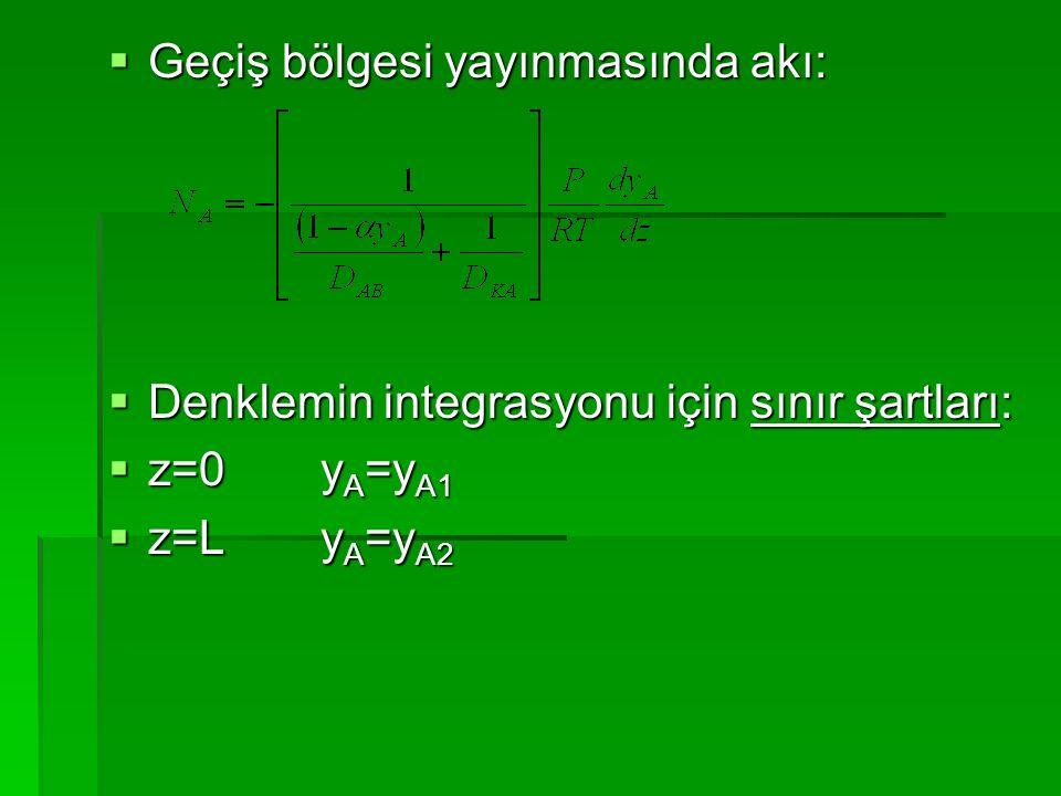  Geçiş bölgesi yayınmasında akı:  Denklemin integrasyonu için sınır şartları:  z=0y A =y A1  z=Ly A =y A2