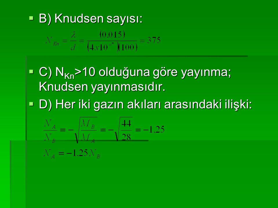  B) Knudsen sayısı:  C) N Kn >10 olduğuna göre yayınma; Knudsen yayınmasıdır.  D) Her iki gazın akıları arasındaki ilişki: