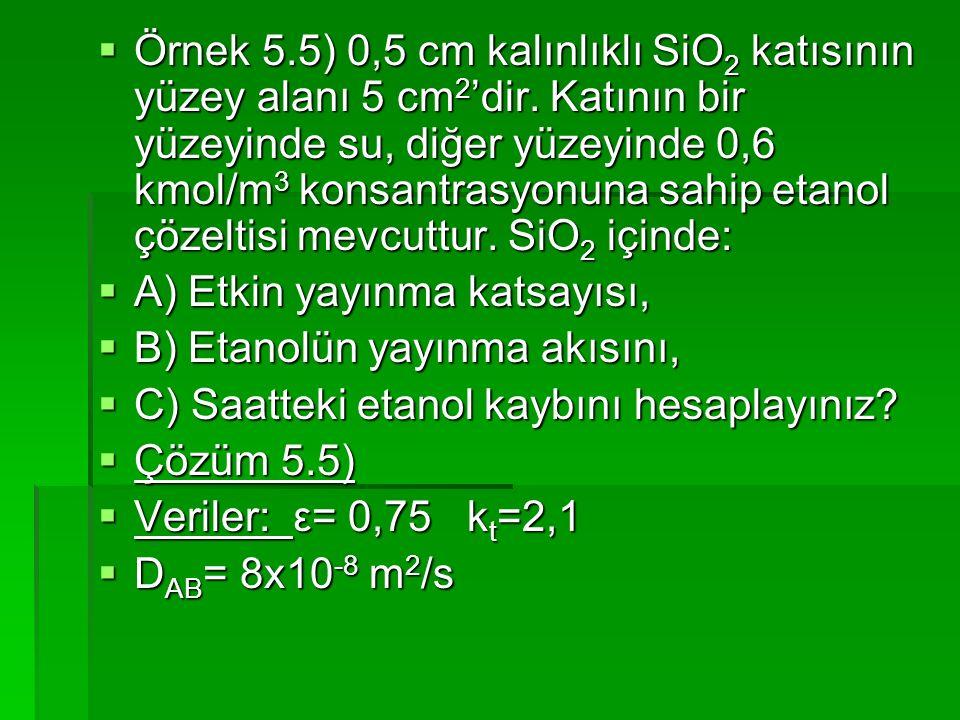  Örnek 5.5) 0,5 cm kalınlıklı SiO 2 katısının yüzey alanı 5 cm 2 'dir. Katının bir yüzeyinde su, diğer yüzeyinde 0,6 kmol/m 3 konsantrasyonuna sahip