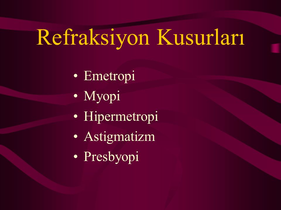 Refraksiyon Kusurları Emetropi Myopi Hipermetropi Astigmatizm Presbyopi