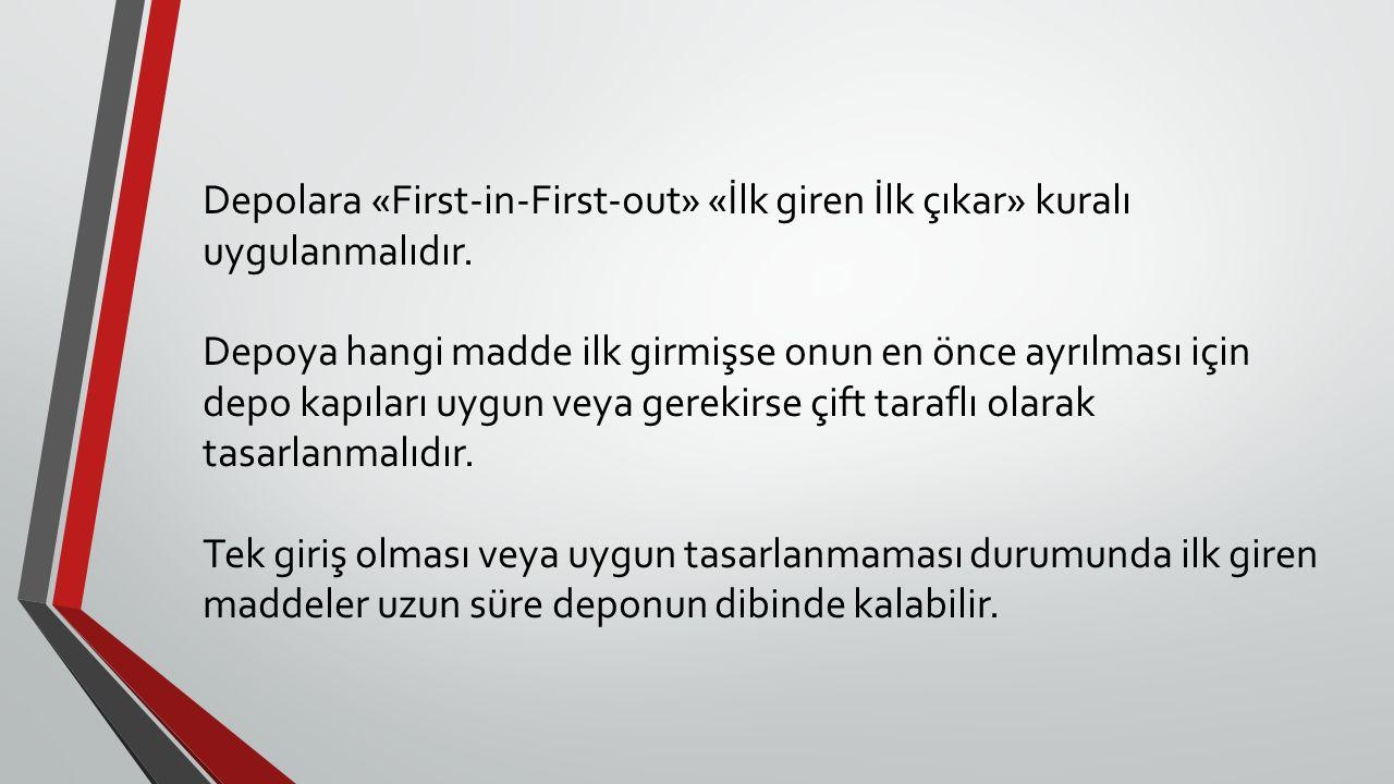 Depolara «First-in-First-out» «İlk giren İlk çıkar» kuralı uygulanmalıdır. Depoya hangi madde ilk girmişse onun en önce ayrılması için depo kapıları u