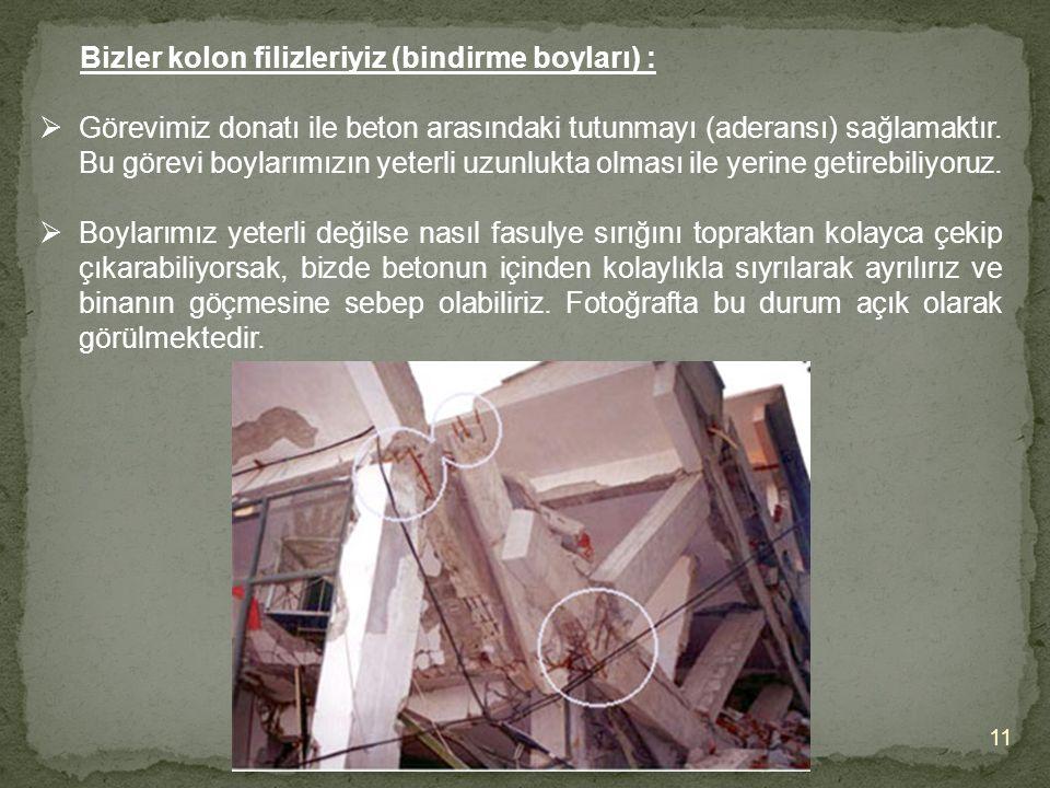 11 Bizler kolon filizleriyiz (bindirme boyları) :  Görevimiz donatı ile beton arasındaki tutunmayı (aderansı) sağlamaktır.