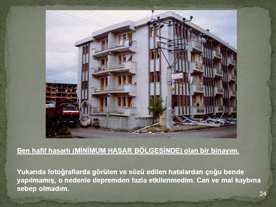 Ben hafif hasarlı (MİNİMUM HASAR BÖLGESİNDE) olan bir binayım.