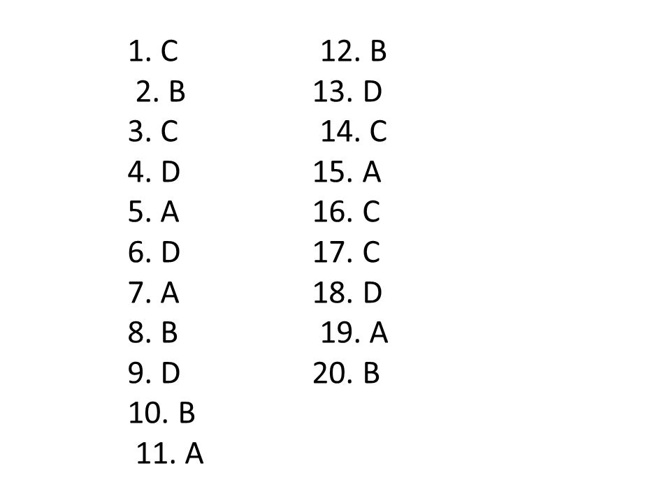 1. C 2. B 3. C 4. D 5. A 6. D 7. A 8. B 9. D 10. B 11. A 12. B 13. D 14. C 15. A 16. C 17. C 18. D 19. A 20. B