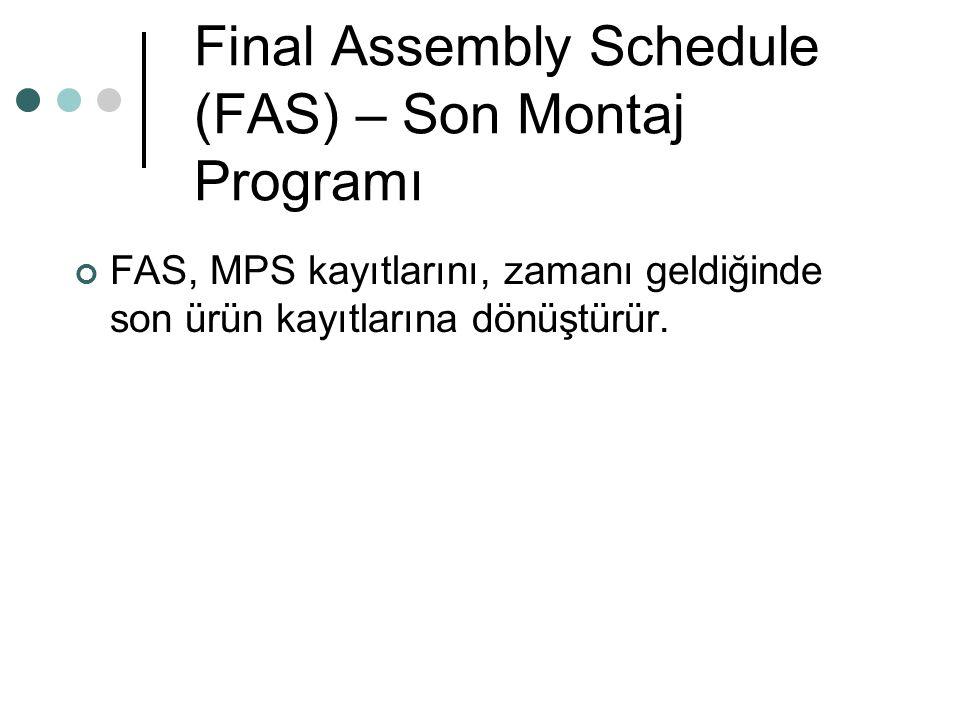 Final Assembly Schedule (FAS) – Son Montaj Programı FAS, MPS kayıtlarını, zamanı geldiğinde son ürün kayıtlarına dönüştürür.