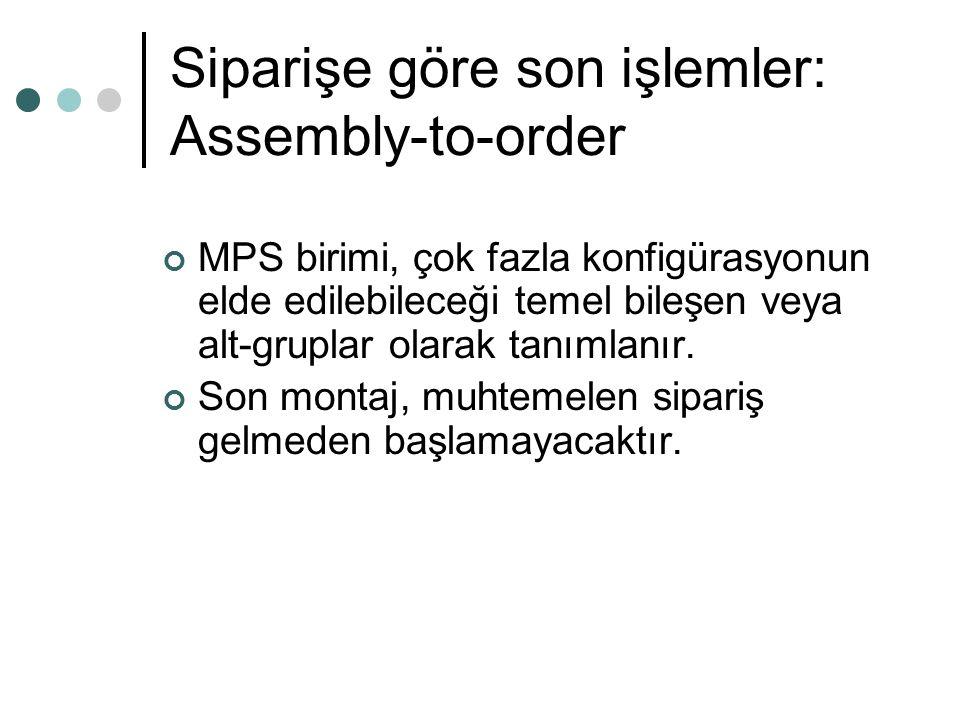 Siparişe göre son işlemler: Assembly-to-order MPS birimi, çok fazla konfigürasyonun elde edilebileceği temel bileşen veya alt-gruplar olarak tanımlanı