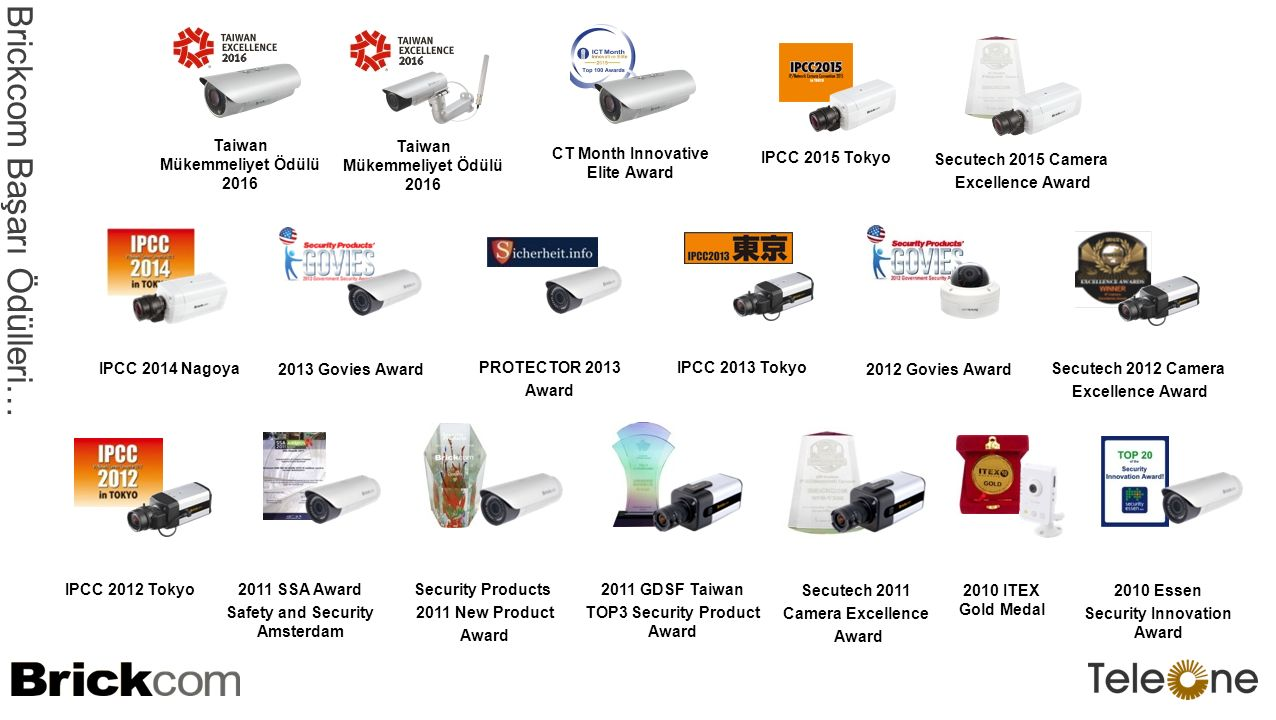 PROTECTOR 2013 Award 2012 Govies Award Secutech 2012 Camera Excellence Award 2013 Govies Award IPCC 2013 Tokyo IPCC 2014 Nagoya Brickcom Başarı Ödülleri … Taiwan Mükemmeliyet Ödülü 2016 CT Month Innovative Elite Award IPCC 2015 Tokyo Secutech 2015 Camera Excellence Award IPCC 2012 Tokyo Security Products 2011 New Product Award 2011 GDSF Taiwan TOP3 Security Product Award 2011 SSA Award Safety and Security Amsterdam Secutech 2011 Camera Excellence Award 2010 ITEX Gold Medal 2010 Essen Security Innovation Award