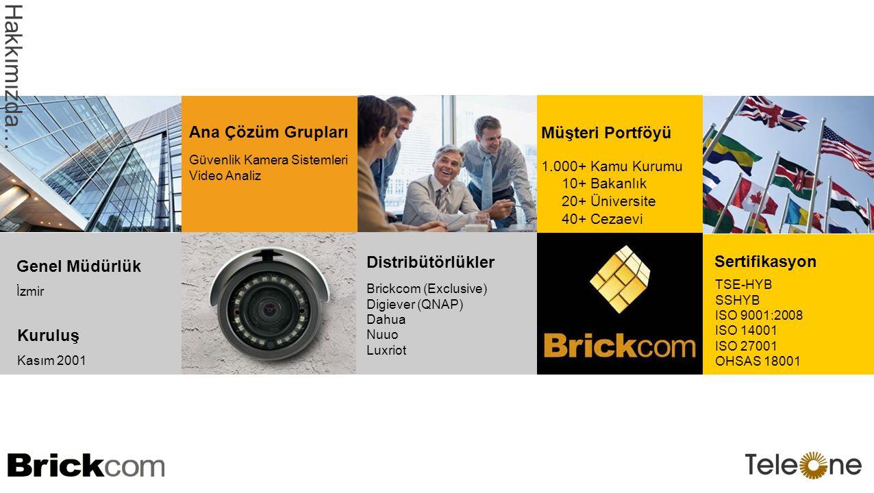 Güvenlik Kamera Sistemleri Video Analiz Ana Çözüm Grupları Brickcom (Exclusive) Digiever (QNAP) Dahua Nuuo Luxriot Distribütörlükler Sertifikasyon TSE-HYB SSHYB ISO 9001:2008 ISO 14001 ISO 27001 OHSAS 18001 İzmir Genel Müdürlük Kuruluş Kasım 2001 Hakkımızda … 1.000+ Kamu Kurumu 10+ Bakanlık 20+ Üniversite 40+ Cezaevi Müşteri Portföyü