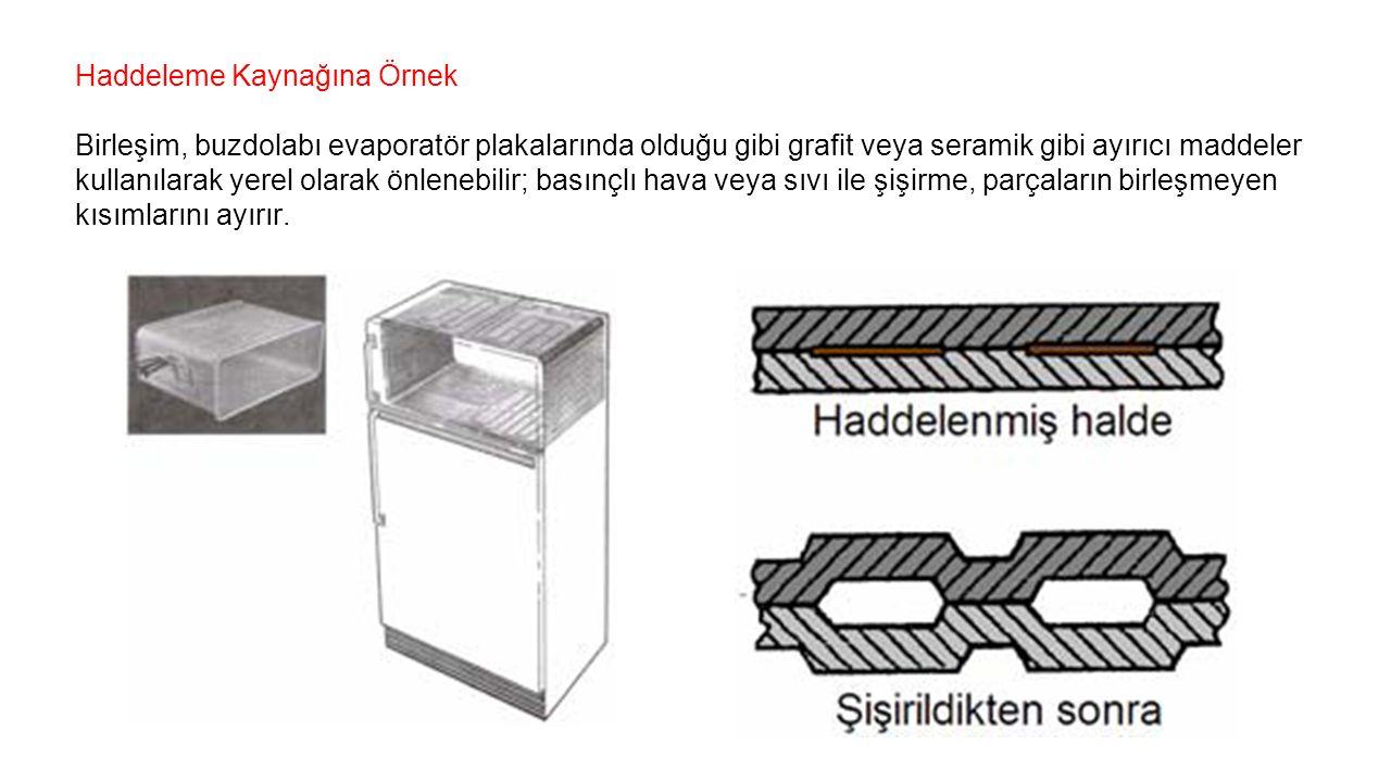 Haddeleme Kaynağına Örnek Birleşim, buzdolabı evaporatör plakalarında olduğu gibi grafit veya seramik gibi ayırıcı maddeler kullanılarak yerel olarak