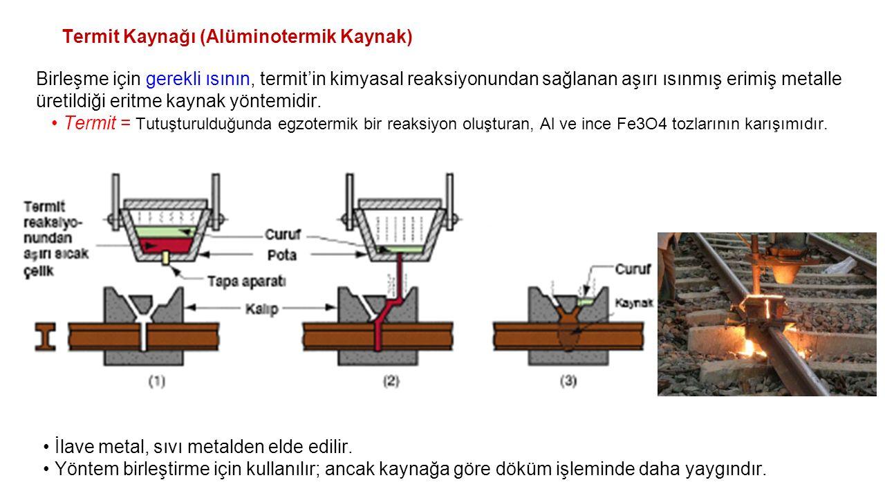 Termit Kaynağı (Alüminotermik Kaynak) Birleşme için gerekli ısının, termit'in kimyasal reaksiyonundan sağlanan aşırı ısınmış erimiş metalle üretildiği