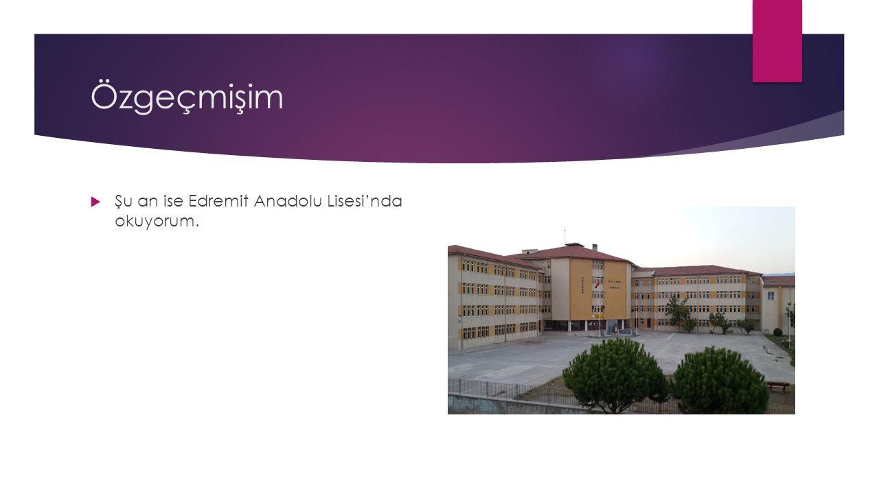 Özgeçmişim  Daha sonra anneannemlerin yanına Edremit'e taşındık.  3. ve 4. sınıfı İstanbul Özel Özcan İlköğretim Okulu'nda okudum.  5., 6. ve 7. sı