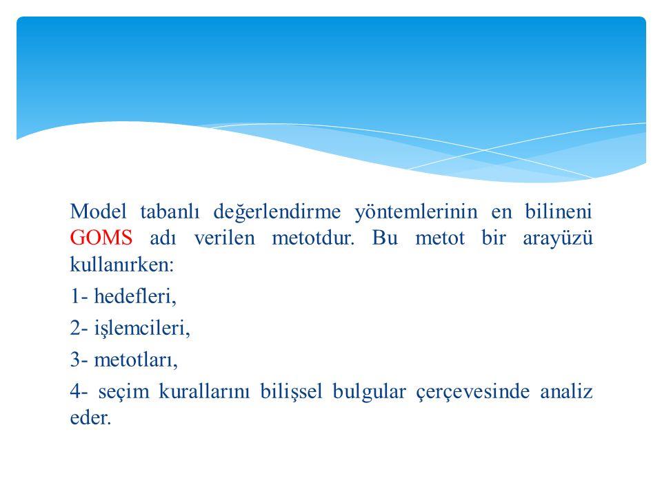 Model tabanlı değerlendirme yöntemlerinin en bilineni GOMS adı verilen metotdur.