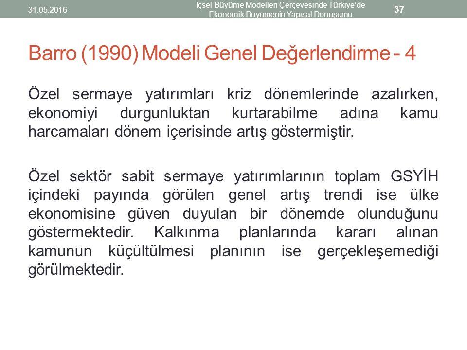 Barro (1990) Modeli Genel Değerlendirme - 4 Özel sermaye yatırımları kriz dönemlerinde azalırken, ekonomiyi durgunluktan kurtarabilme adına kamu harca