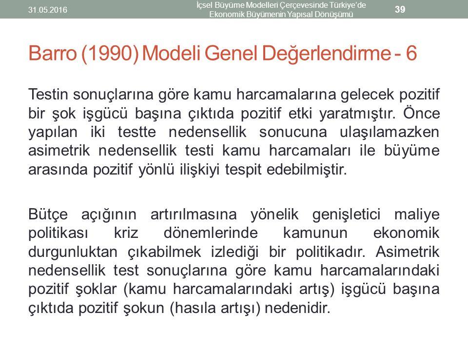 Barro (1990) Modeli Genel Değerlendirme - 6 Testin sonuçlarına göre kamu harcamalarına gelecek pozitif bir şok işgücü başına çıktıda pozitif etki yara