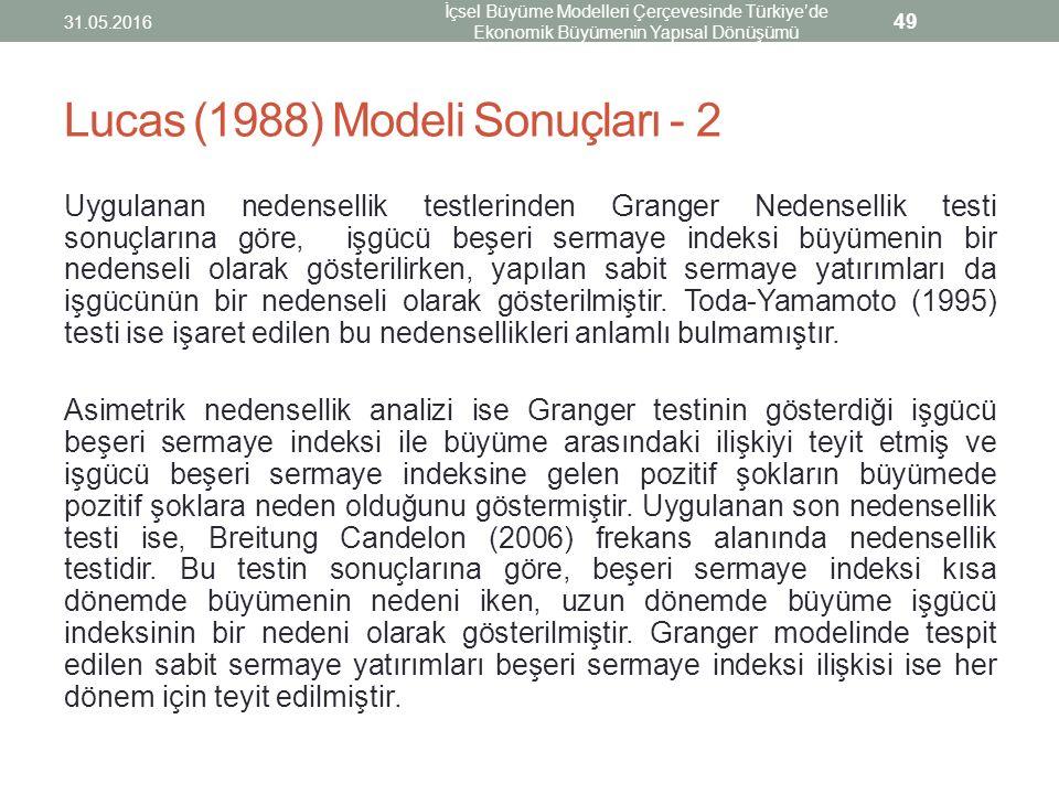 Lucas (1988) Modeli Sonuçları - 2 Uygulanan nedensellik testlerinden Granger Nedensellik testi sonuçlarına göre, işgücü beşeri sermaye indeksi büyümen