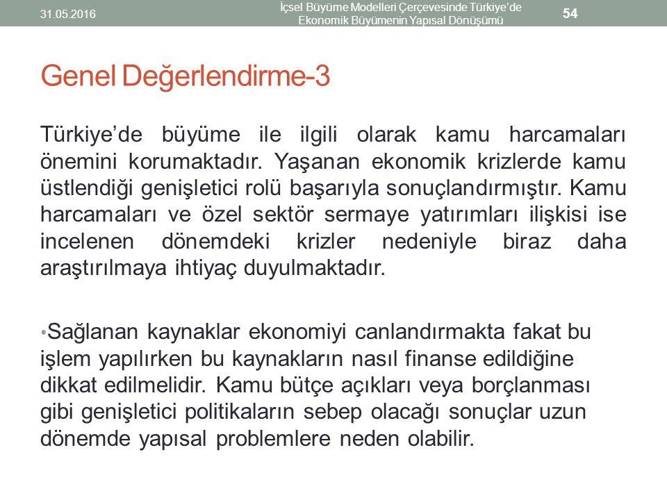 Genel Değerlendirme-3 Türkiye'de büyüme ile ilgili olarak kamu harcamaları önemini korumaktadır. Yaşanan ekonomik krizlerde kamu üstlendiği genişletic