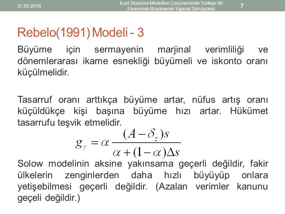 Rebelo(1991) Modeli - 3 Büyüme için sermayenin marjinal verimliliği ve dönemlerarası ikame esnekliği büyümeli ve iskonto oranı küçülmelidir. Tasarruf