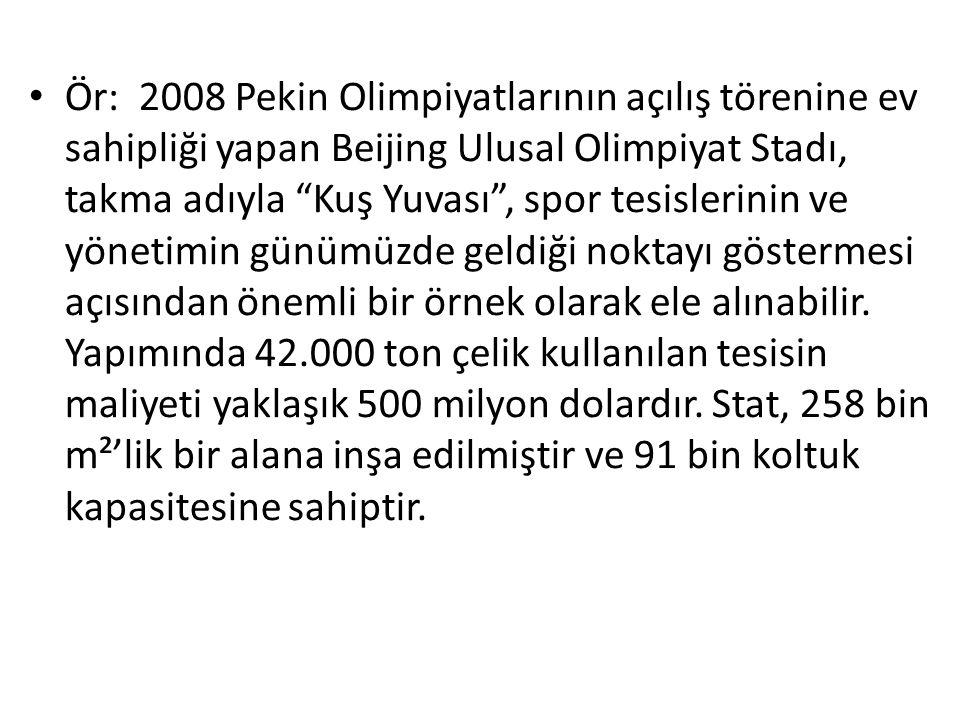 """Ör: 2008 Pekin Olimpiyatlarının açılış törenine ev sahipliği yapan Beijing Ulusal Olimpiyat Stadı, takma adıyla """"Kuş Yuvası"""", spor tesislerinin ve yön"""