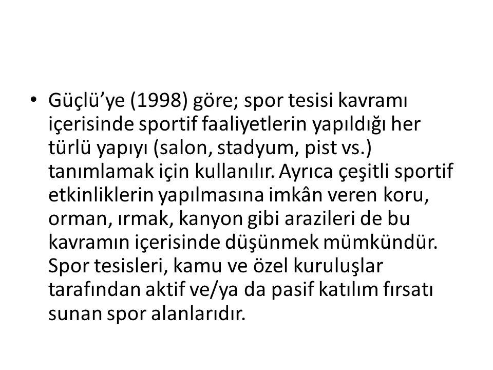 Güçlü'ye (1998) göre; spor tesisi kavramı içerisinde sportif faaliyetlerin yapıldığı her türlü yapıyı (salon, stadyum, pist vs.) tanımlamak için kulla