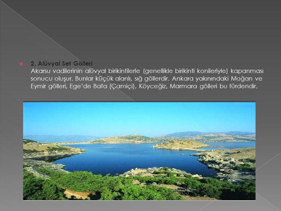 2. Alüvyal Set Gölleri Akarsu vadilerinin alüvyal birikintilerle (genellikle birikinti konileriyle) kapanması sonucu oluşur. Bunlar küçük alanlı, sı