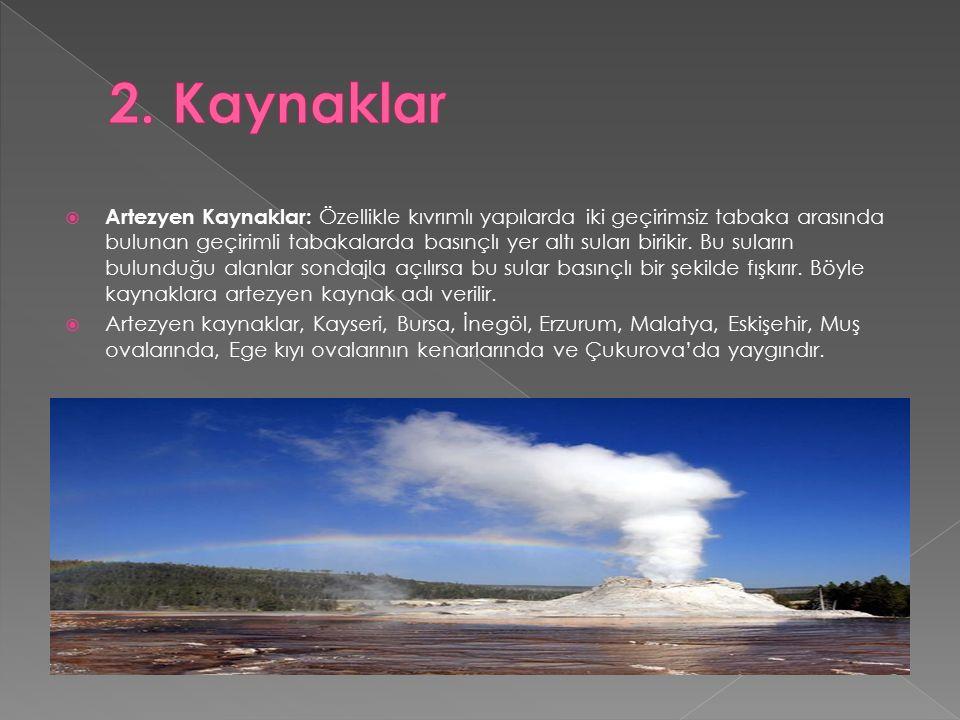  Artezyen Kaynaklar: Özellikle kıvrımlı yapılarda iki geçirimsiz tabaka arasında bulunan geçirimli tabakalarda basınçlı yer altı suları birikir.