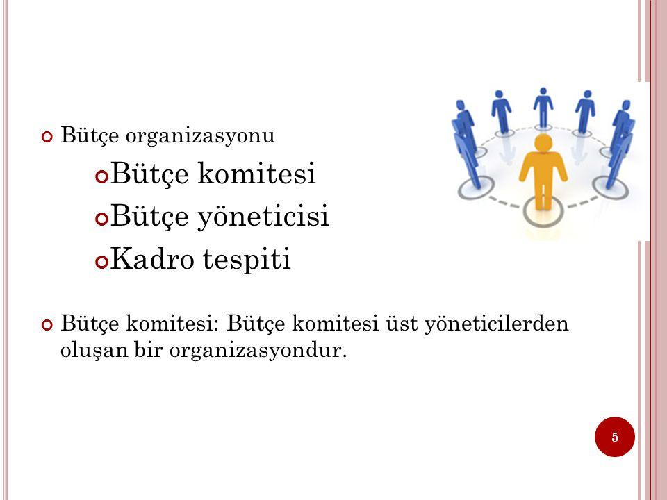 Bütçe organizasyonu Bütçe komitesi Bütçe yöneticisi Kadro tespiti Bütçe komitesi: Bütçe komitesi üst yöneticilerden oluşan bir organizasyondur.