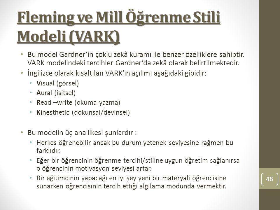 Fleming ve Mill Öğrenme Stili Modeli (VARK) Bu model Gardner'in çoklu zekâ kuramı ile benzer özelliklere sahiptir. VARK modelindeki tercihler Gardner'