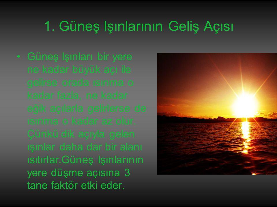 1. Güneş Işınlarının Geliş Açısı Güneş Işınları bir yere ne kadar büyük açı ile gelirse orada ısınma o kadar fazla, ne kadar eğik açılarla gelirlerse