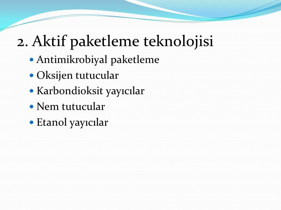 2. Aktif paketleme teknolojisi Antimikrobiyal paketleme Oksijen tutucular Karbondioksit yayıcılar Nem tutucular Etanol yayıcılar