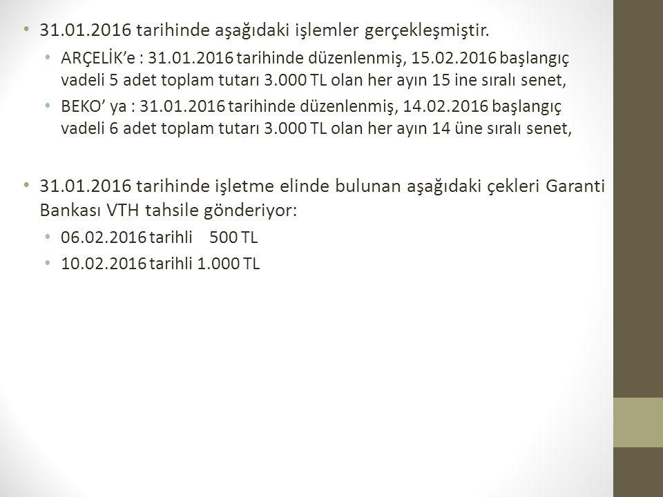 31.01.2016 tarihinde aşağıdaki işlemler gerçekleşmiştir. ARÇELİK'e : 31.01.2016 tarihinde düzenlenmiş, 15.02.2016 başlangıç vadeli 5 adet toplam tutar