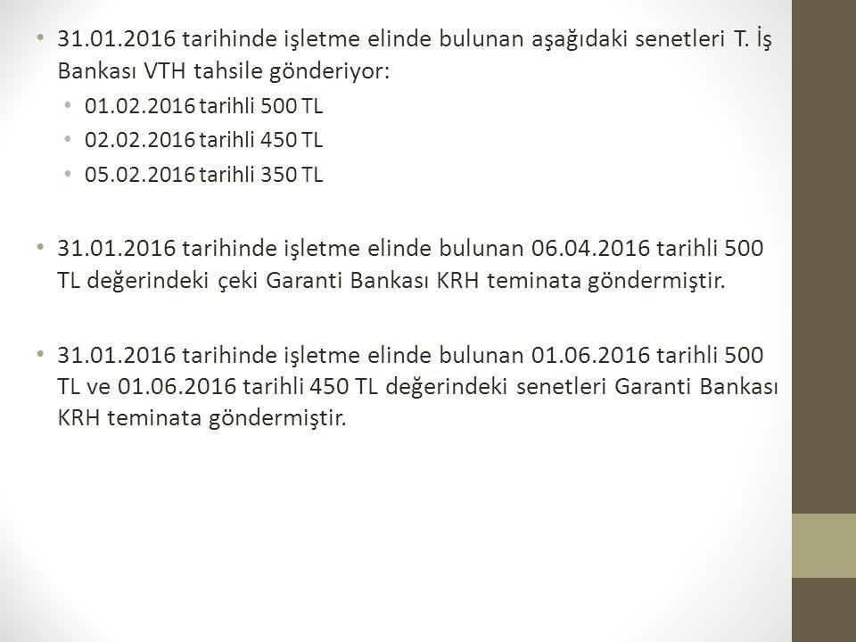 31.01.2016 tarihinde işletme elinde bulunan aşağıdaki senetleri T. İş Bankası VTH tahsile gönderiyor: 01.02.2016 tarihli 500 TL 02.02.2016 tarihli 450