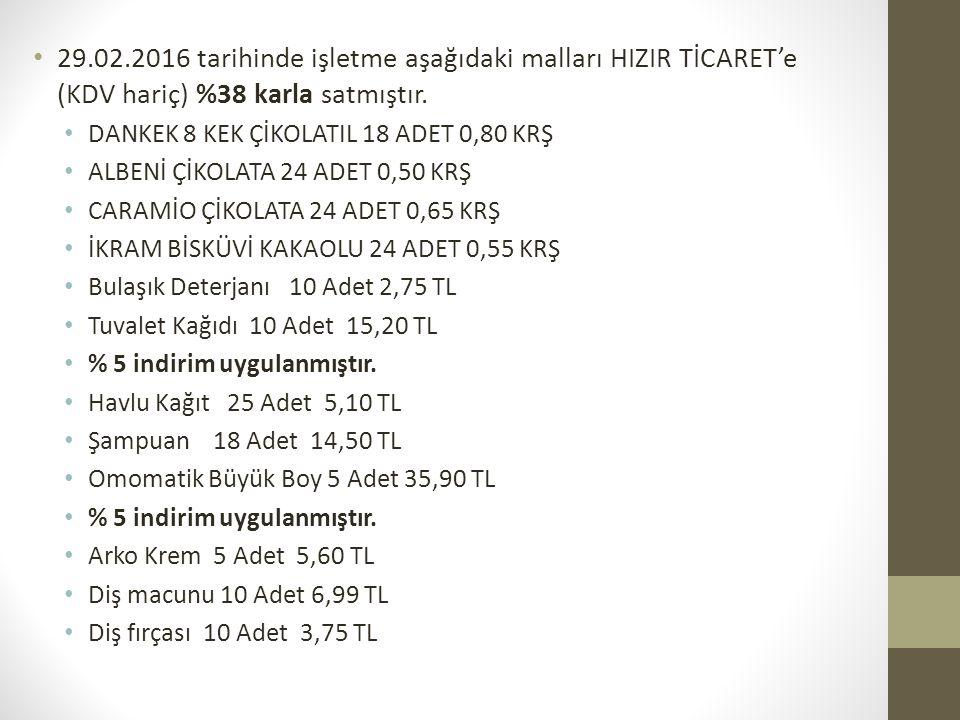 29.02.2016 tarihinde işletme aşağıdaki malları HIZIR TİCARET'e (KDV hariç) %38 karla satmıştır. DANKEK 8 KEK ÇİKOLATIL 18 ADET 0,80 KRŞ ALBENİ ÇİKOLAT