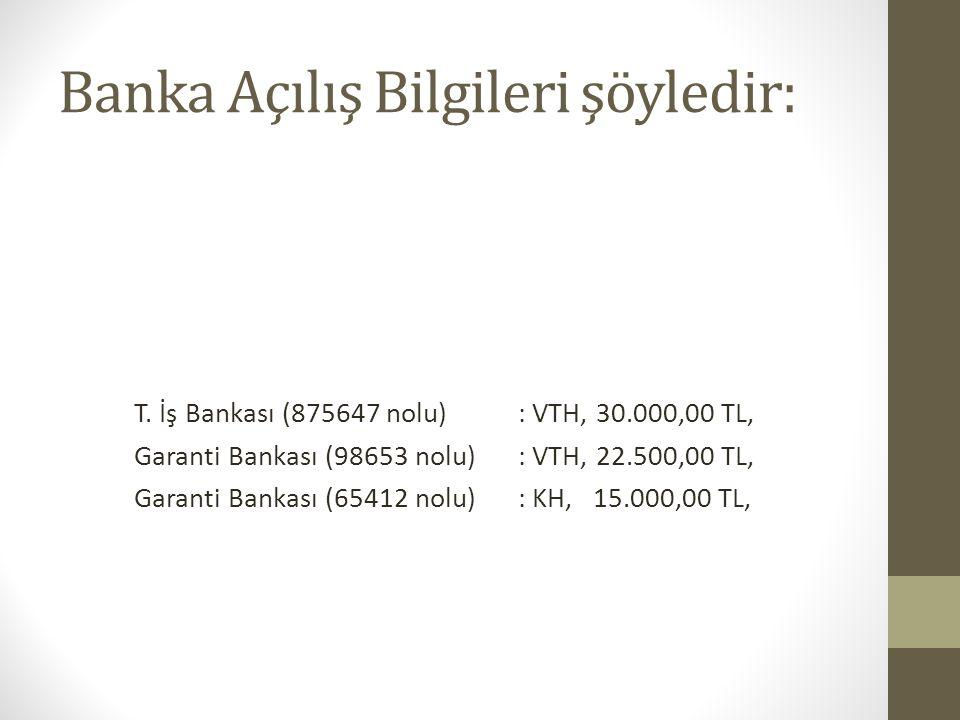 Banka Açılış Bilgileri şöyledir: T. İş Bankası (875647 nolu): VTH, 30.000,00 TL, Garanti Bankası (98653 nolu) : VTH, 22.500,00 TL, Garanti Bankası (65